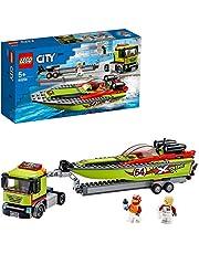 LEGO60254CityGreatVehiclesRaceBoatTransporterTruckToywithTrailerandSpeedboat,FloatingBathToyforKids5to7YearOld