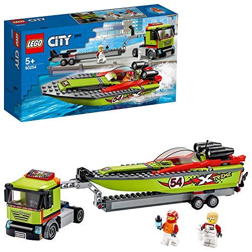 LEGO 60254 City Rennboot-Transporter LKW Spielzeug mit Anhänger und Schnellboot, schwimmendes Badespielzeug für Kinder von 5 bis 7 Jahren