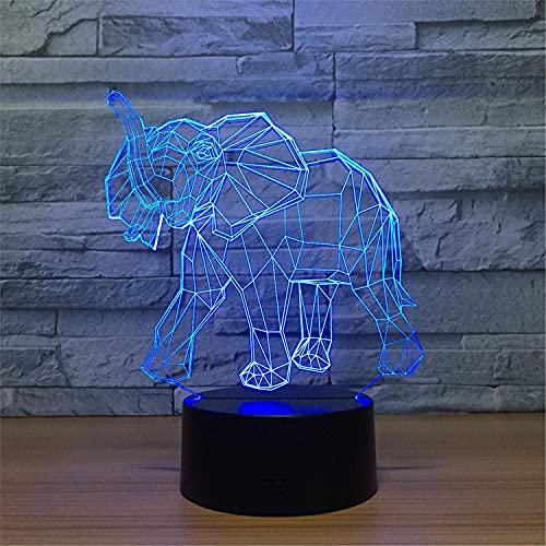 SLJZD luz de noche Modelo De Elefante 3D Led Sensor Táctil De Luz Nocturna Para La Decoración De La Sala De Estar 7 Colores Lámpara Led De Ambiente Regalo Novedoso Para Niños Con Control Remoto