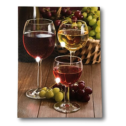 BANBERRY DESIGNS Wine Decor Wall Art with LED Lights - Canvas Print - Wine Glasses with Wine Bottle and Grapes Picture - 16x12 Inch