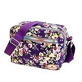 Goddessvan Fashion Women Floral Canvas Crossbody Bag Shoulder Bag Messenger Bag Cosmetic Bag Purple