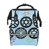 Fahrrad-Zahnrad-Getriebe, blauer Hintergrund, Schulrucksack, große Kapazität, Mama-Taschen, Laptop-Handtasche, lässiger Reiserucksack für Damen, Herren, Erwachsene, Teenager, Kinder
