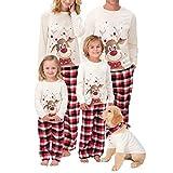 Pijamas de Navidad Familia Manga Larga Reno/Ciervo Tops y Pantalones a Cuadros 2 Piezas Ropa de Dormir Conjunto Familiares Juego Homewear para Papá Mamá y Yo/2XL