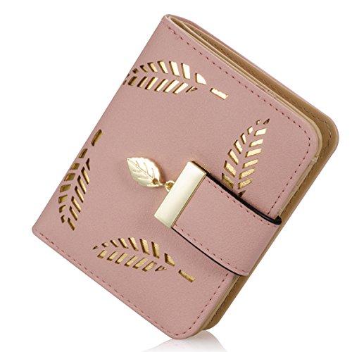 Damen kurzer Punkt Art und Weise weibliche Portemonnaie Hohle Goldblatt Kleine Geldbeutel Große Kapazität Wallet (Rosa)