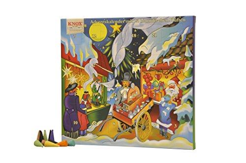 Knox 090000-Adventskalender mit 24 himmlischen Düften, Räucherkerzen, Adventszeit, Weihnachten, Mehrfarbig, 1.5x26x24 cm