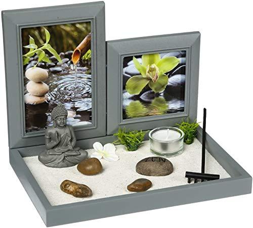 Ducomi Mini Zen Table Garden con Bandeja, Arena, Estatuilla de Buda, Roca - Kit de Meditación Japonesa - Accesorios para El Hogar Decoración de Muebles Interiores (Mantra)