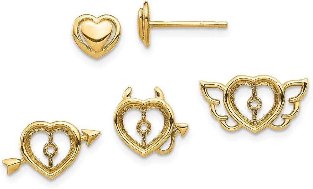 14k Yellow Gold Heart Interchangeable Jacket Designs Post Earrings
