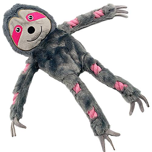 Jalousie Sloth ExtraLarge 16 in Dog Squeaky Toy Interactive Rope Plush Toy for Small Medium Large Breeds Durable Dog Chew Toy Sloth