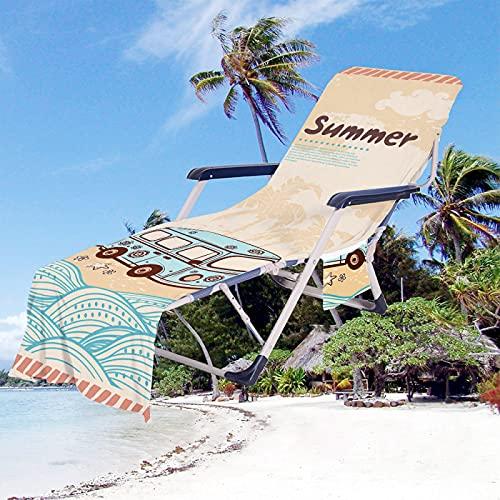 Toallas De Playa De Microfibra, Toallas De Secado Rápido con Bolsas De Almacenamiento Laterales, Se Pueden Utilizar En Jardines, Piscinas, Sillones De Hotel, Etc. 75 * 210cm