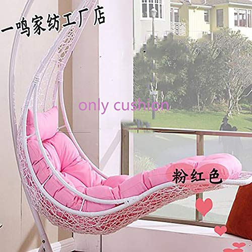 MSM Furniture Mermaid Cushion, Swing Chair Wicker Hanging Egg Rattan Chair Hammock Pad, Balcony Patio Garden, Outdoor Or Indoor-only cushion,neither chair nor stand are included-pink