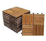 SAM® Baldosas de madera en acacia para terraza o balcón Versión 2, set de 11 piezas de aprox. 1m², baldosas de 12 tablones de madera, suelo con estructura de drenaje