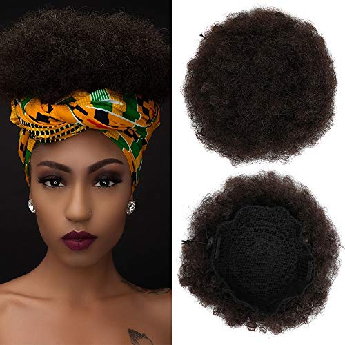 YMHPRIDE Afro Kinky Curly Ponytail Hair Cheveux Humains, Naturel Africain HairPieces Africain Extension de Cheveux Perruque Clips (brun clair)