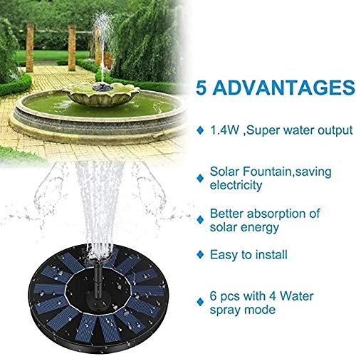 Solarbrunnen mit Pumpe, 1,4 W, 150 l/h, Solar-Kreis mit 6 Befestigungen, schwimmende Pumpe für Teich, Brunnen, Birdbath, Garten, Dekoration, Wasserfahrrad, ohne Strom
