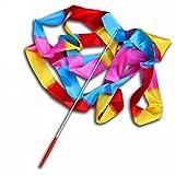 collectsound Cinta de danza colorida rítmica arte de gimnasia Streamer Twirling Rod Stick para niños, Baton Twirling, Dancing Streamers (4 m) Llama colorida