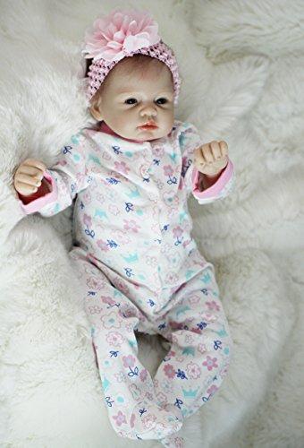 ZELY Real Silikon Vinyl Mädchen Dolls Spielzeuge Lebensecht Reborn Baby Puppe Silikon Vinyl 22 Zoll Neugeborenen Augen Offnen Baby Magnetisch Mund