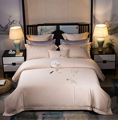 N/Z Wohnausrüstung Vierteilige Baumwollbettwäsche Chinesische Stickbettwäsche-Sets Seidige, ultraweiche, Falten- und lichtbeständige chinesische Bettbezug-Kissenbezug-Bettdecke Fleisch 1,8 m