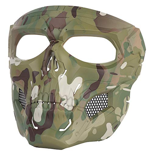 Sensong Paintball Maske mit Schutzbrille Masken Taktische Skull Schutzmaske fur Airsoft Softair Halloween CS Partyspiel Jagd Cospla CP