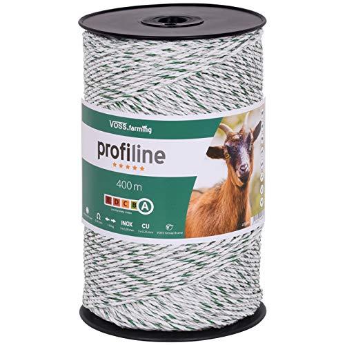 VOSS.farming Weidezaun Litze 400m, 3x0,25 Kupfer, 3x0,20 NIRO Weiß Grün Leitermaterial Elektrozaun Zaunanlage Elektrolitze Pferd Pony Rind