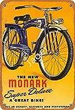 Hdadwy Retro The New Monark, una gran bicicleta, decoración retro de metal, placa de pared, letrero vintage para casa, cafetería, club, hogar o bar