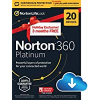 NortonLifeLock 360 Platinum 2021 Antivirus Software for 20 Devices with Auto Renewal, 3 Months Free