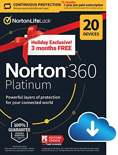 Norton 360 Platinum 2021 – Antivirus software for 20 Devices with Auto Renewal - 3 Months FREE - Includes VPN, PC Cloud Backup & Dark Web Monitoring [Download] $34.99