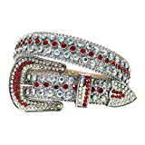 DDSP Correa para Hombres Mujeres Rhinestones Belt Western Cowgirl Cowboy Bling Crystal Pin Hebilla Diamante Tachuelas Cinturones (Belt Length : 46 Inch, Color : Silver Red)