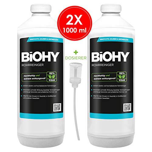 BIOHY Profi Rohrreiniger 2 x 1 Liter Flaschen + Dosierer| Flüssiger, hochkonzentrierter Abflussreiniger | Geruchsneutral | Für alle Verstopfungen | EXTRA STARK