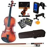 Mendini Full Size 4/4 MV300 Solid Wood Violin with Tuner, Lesson Book, Extra...