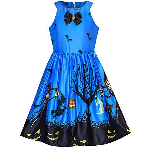 Sunny Fashion Vestito Bambina Reale Blu Halloween Strega Pipistrello Zucca Costume Cavezza 10 Anni