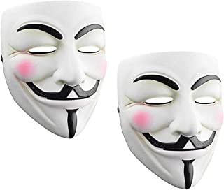 Junyulim 2ps Anonymous Mask Vendetta Mask for Masquerade Party Halloween Cosplay White