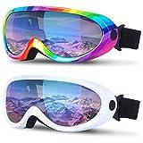 2 Pack Ski Snowboard Goggles Anti Fog Adjustable Snow Goggles for Women Kid