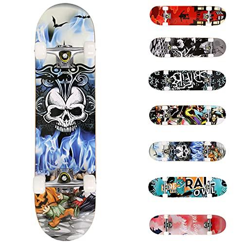 WeSkate Skateboard, für Anfänger, 31 x 8 Zoll, komplett, Skateboard, 7-lagig, Doppelkick-Concave Skateboard, rutschhemmend, PU-Räder für Kinder, Jugendliche und Erwachsene (Totenkopf)