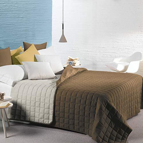 Caleffi Gesteppte Tagesdecke für französisches Bett, wendbar 160 x 190 cm Moka
