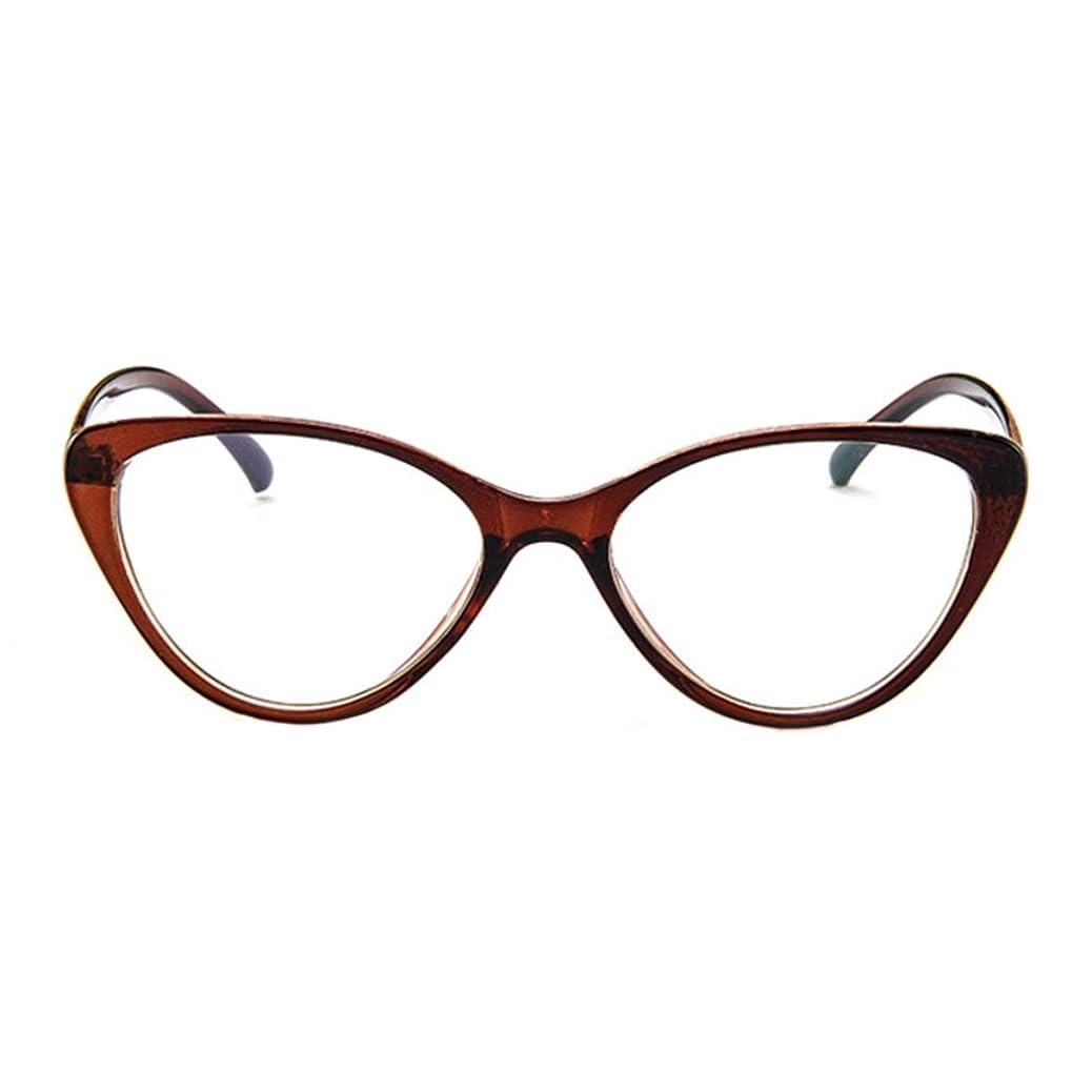 沿ってピアマッサージレトロメガネフレームパーソナリティファッションメガネユーロアメリカンキャットアイメガネフレーム近視フレームレンズ-ダークブラウン