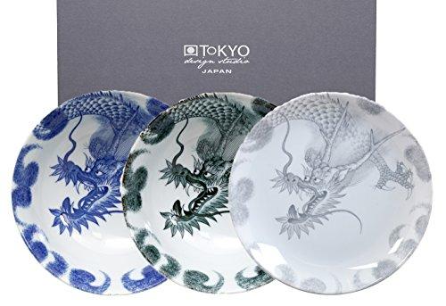 Tokyo Studio de Design, Série Dragon, 3 Assiettes 25,3cm, Japon, Rond, dans boîte Cadeau décorative. Assiette Plate en Porcelaine.