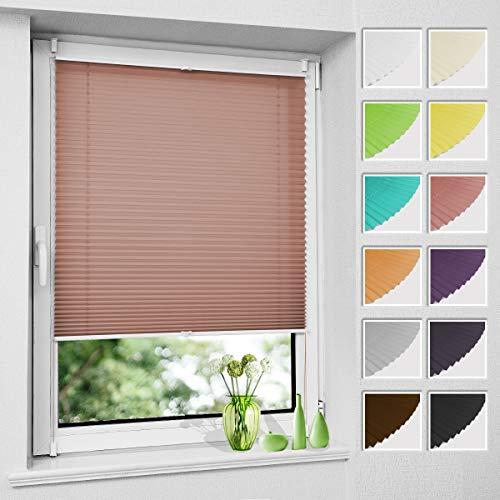 Premium Plissee ohne Bohren Plisee klemmfix (Zimtrot, 85 x 130 cm) Plisseerollo Jalousien Rollos für Fenster, easyfix & verspannt, Sichtschutz & Sonnenschutz