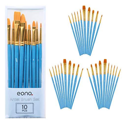 Eono by Amazon - Juego de 30 pinceles de nailon para artistas, aptos para acrílicos, óleos, acuarelas, gouache y pintura facial, mango azul de madera con puntas de distintas formas