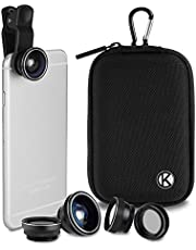 CamKix Deluxe Universal 5-i-1-kameralinsssats för smartphone, surfplatta och laptop – fisköga, 2-i-1 makro och vidvinkel, CPL och 2x tele lins, universellt klämma, fodral med karbinhake och rengöringsduk (5-i-1, svart)