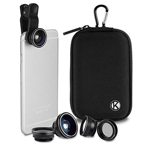 CamKix Deluxe Universal 5 in 1 Kamera Objektiv Kit - Fischaugen, 2in1 Makro und Weitwinkel-Objektiv, CPL, 2X Zoom Teleobjektiv, Universal Clip, Tragetasche mit Karabiner, Reinigungstuch