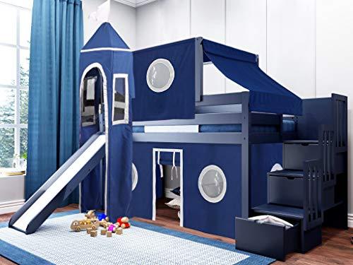 JACKPOT! - Cama Baja para escaleras con Tienda de campaña y Torre con tobogán Azul y Blanco, Cama de Lujo, Cama Doble, Color Azul