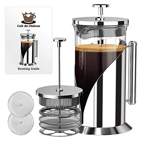 French Press Coffee Maker (34 Ounce) with 4 Level Filtration System - 304 Grade Stainless Steel - Heat Resistant Borosilicate Glass by Cafe Du Chateau