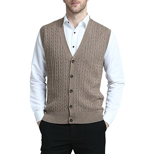 Kallspin Relaxed Fit Mens Cable Stripe V Neck Vest Sweater Cashmere Wool Blend Front Button (Coffee, XL)