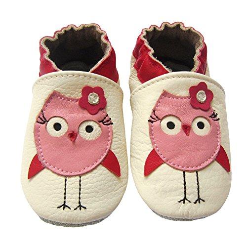 LSERVER Chaussures Bébé en cuir Souple Premiers Pas Chaussons semelle douce, Poussins roses, M (6-12 Mois, longue interne: 12.5cm)
