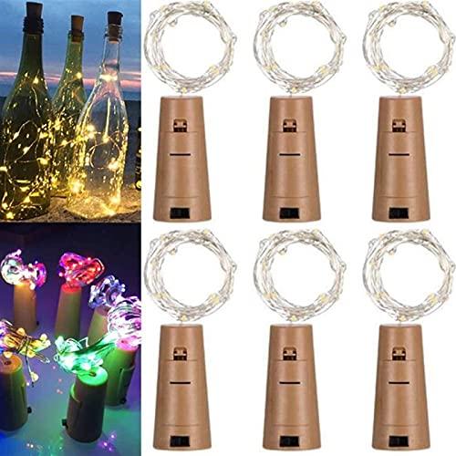 Pkfinrd LED vino tapón botella luces 2 m al aire libre impermeable colorido 20 LED cadena de luz botella de vino luces decorativas para boda Navidad jardín decoración 6 unids