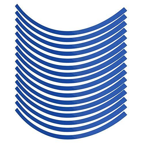 Wielstickers, set van PVC-reflecterende krijtstreep stuurwiel-beschermband-stickers universele decoratiefilm voor auto-, fiets- en mortorcycle-wielen van 16-19 inch default blauw