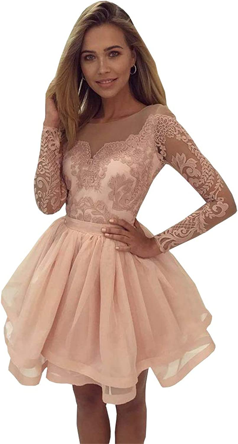 Ellystar 2017 Short Homecoming Dresses bluesh Pink Lace Appliques Party Dresses