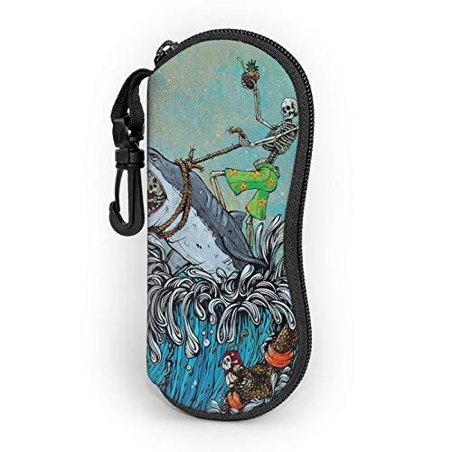 Estuche suave para gafas de sol, ligero, portátil, estampado 3D, diseño de calavera, tiburones, olas de mar, con cremallera, con clip para cinturón para hombre y mujer