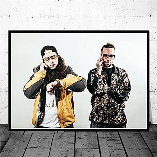 WuChao丶Store Impresiones de Carteles $ Uicideboy $ Hip Hop Música Rapero Cantante Estrella Lienzo Pintura Arte Cuadros de Pared para Sala de Estar Decoración del hogar 50x70 cm W930