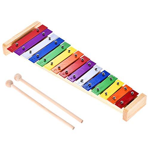 ammoon Xilófono Glockenspiel Colorido Madera y Aluminio Instrumento Musical de Percusión Educativo 15 Tonos con 2 Mazos
