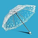 IMBM Stockschirme Transparente Regenschirm Kreative Transparent 7 Discount Spitze Folding Umbrella Schirm durchsichtig 8 Fracture Fo (Color : 02)